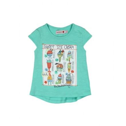 """Camiseta  manga corta punto flamé BOBOLI de bebé niña """"helados"""""""