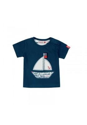 """Camiseta  manga corta punto liso BOBOLI de bebé niño """"barco"""""""