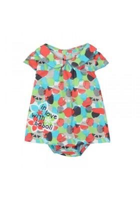 Vestido manga corta punto liso BOBOLI de bebé niña