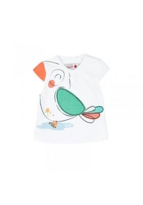 """Camiseta manga corta punto liso BOBOLI de bebé niña """"pajaros"""""""