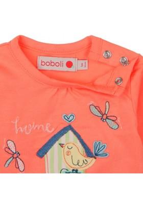 """Camiseta manga larga punto liso BOBOLI de bebé niña """"pajaros"""""""