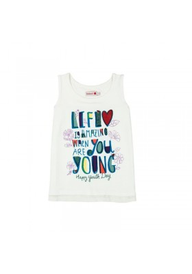 """Camiseta sin manga BOBOLI niña punto """"life"""""""