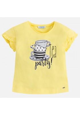Camiseta manga corta MAYORAL  niña volantes amarillo