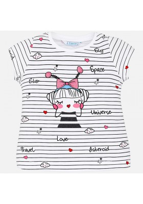 Camiseta manga corta MAYORAL niña rayas robot