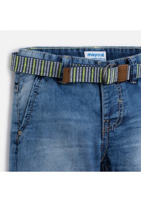 Pantalón corto MAYORAL niño chino tejano cinturon