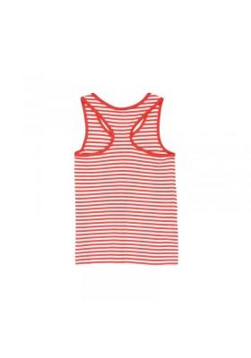 Camiseta manga corta BOBOLI punto listado de niña