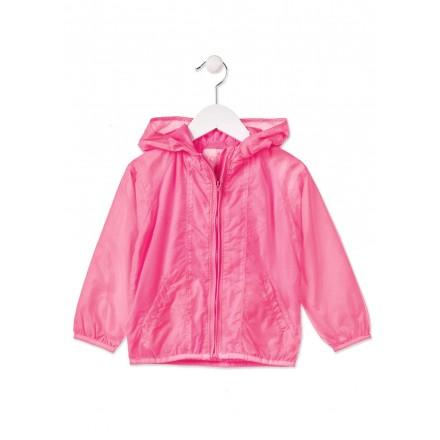 Parka LOSAN niña de color rosa con capucha y cremallera delantera