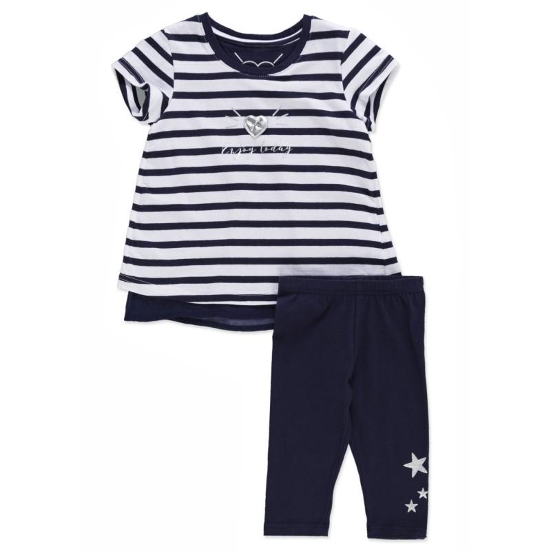 5390163a0 Conjunto LOSAN niña de camiseta marinera y legging con estrellas ...