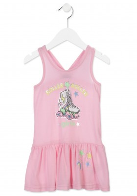 Vestido de tirantes  LOSAN niña de color rosa en punto con estampado