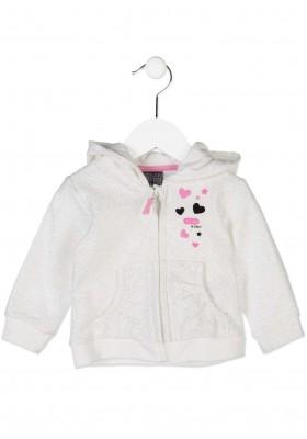 Chaqueta de felpa  LOSAN bebe niña en color blanco estampada de purpurina