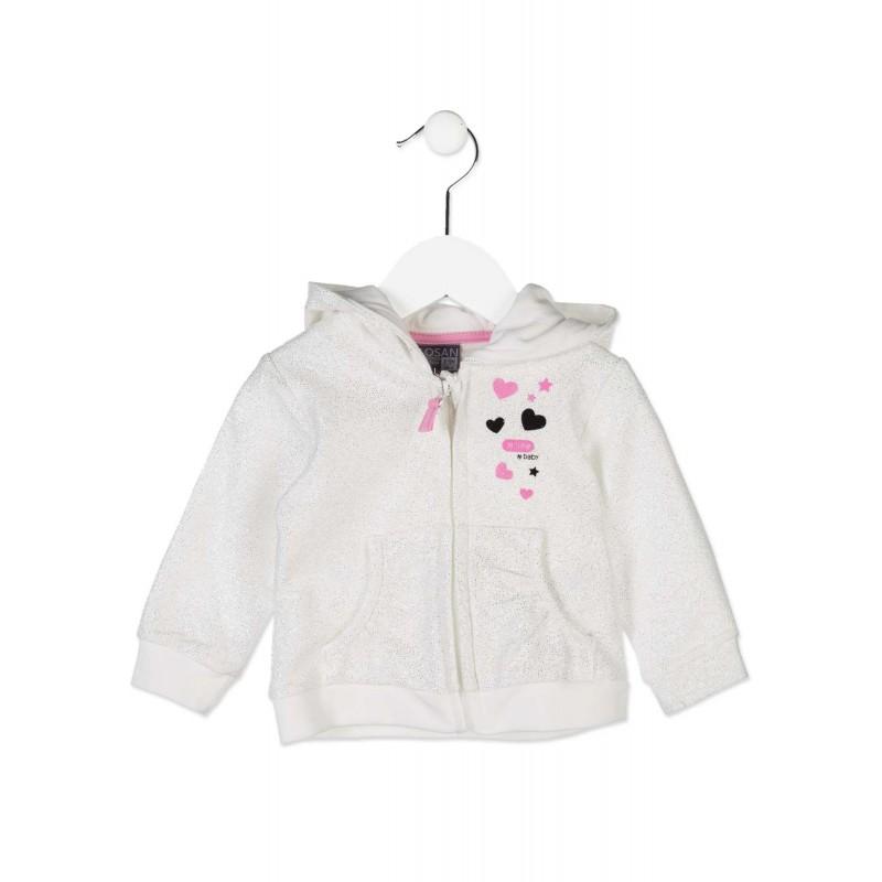 5bf15e0a0 Chaqueta de felpa LOSAN bebe niña en color blanco estampada de purpurina.  Loading zoom