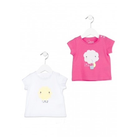Camiseta de manga corta LOSAN bebe niña de color rosa con nube estampada
