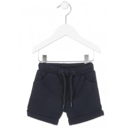 Bermuda de algodón LOSAN bebe niño de color azul y estampado en bolsillo