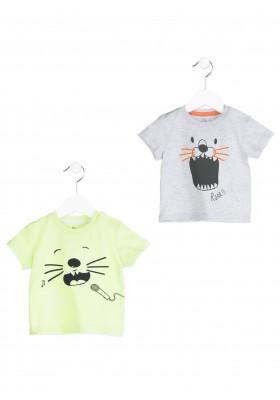 Camiseta de manga corta LOSAN bebe niño de color verde con cara de animal