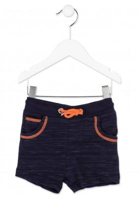 Bermuda LOSAN bebe niño de color azul con pespuntes de color naranja