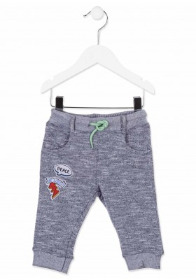 Pantalón largo de felpa LOSAN bebe niño de color azul con cordón y parches
