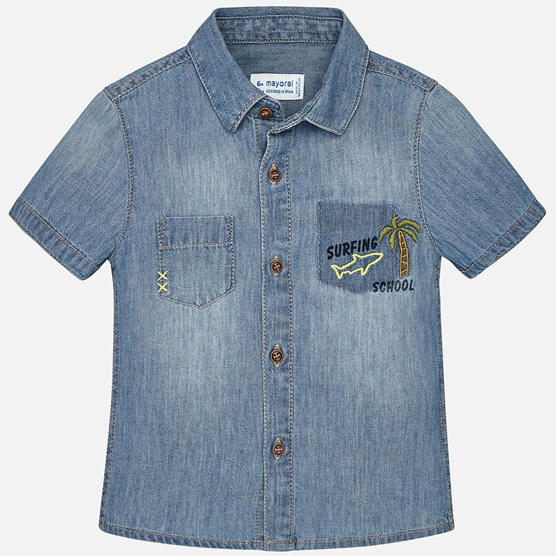 1f6759a16 Camisa manga corta MAYORAL bebe niño tejana detalles Tejano. Loading zoom