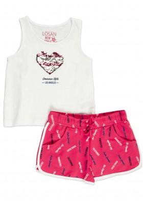 Conjunto  LOSAN niña de camiseta con lentejuelas reversible y short