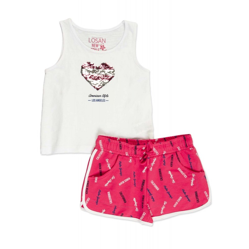 74f1a19e7 Conjunto LOSAN niña de camiseta con lentejuelas reversible y short ...