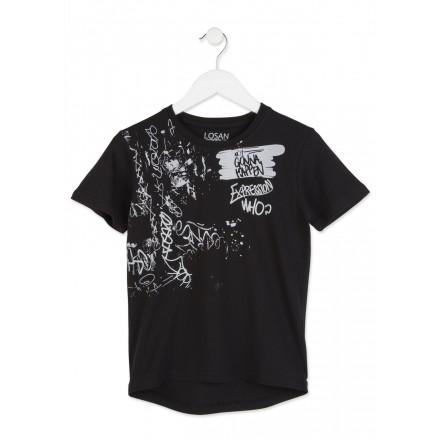 Camiseta LOSAN niño de punto liso en color negro con estampado