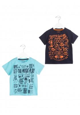 Camiseta de manga corta LOSAN niño de color azul y motivos musicales