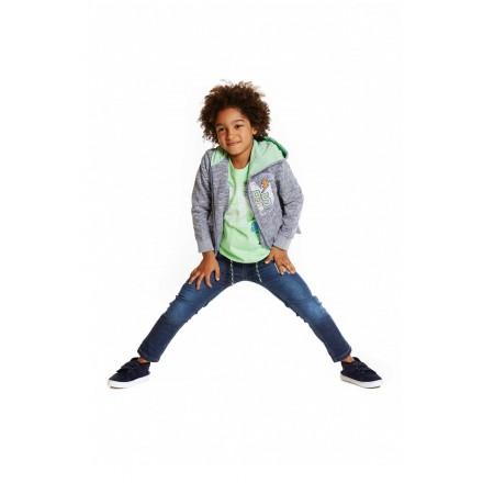 Chaqueta LOSAN niño de felpa de color azul con capucha y parches