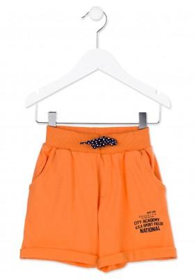 Bermuda LOSAN niño  en color naranja de punto con estampado en pierna
