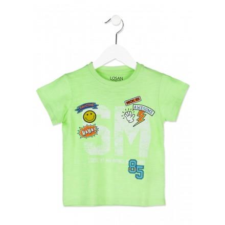 Camiseta manga corta LOSAN niño de algodón de color verde con parches