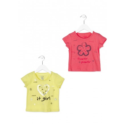Camiseta de manga corta LOSAN niña de color rojo con flor estampada