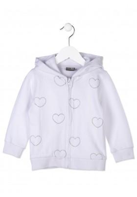 Sudadera LOSAN niña de felpa en color blanco con corazones