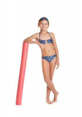 Bikini  LOSAN  niña estampado efecto vaquero con tiras de colores