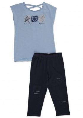 Conjunto  LOSAN  niña de camiseta con tiras en escote y legging pirata