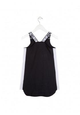 Vestido LOSAN niña de color negro con tirantes de goma elástica