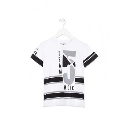 Camiseta LOSAN niño deportiva de manga corta de color blanco