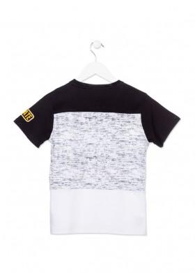 Camiseta de manga corta LOSAN niño en color negro con piezas