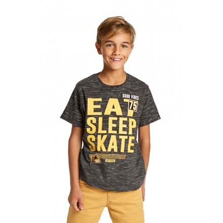 Camiseta de manga corta LOSAN niño en color gris con parche
