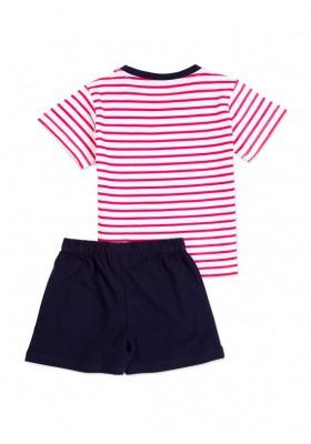 Pijama LOSAN niño de camiseta a rayas y bermuda en color azul