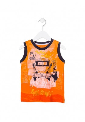 Camiseta de tirantes LOSAN niño con furgoneta surfera color naranja