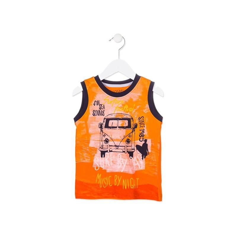 939dae4be Camiseta de tirantes LOSAN niño con furgoneta surfera color naranja.  Loading zoom