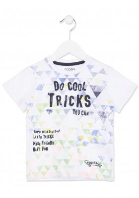 Camiseta manga corta LOSAN  niño de algodón de color blanco con estampado