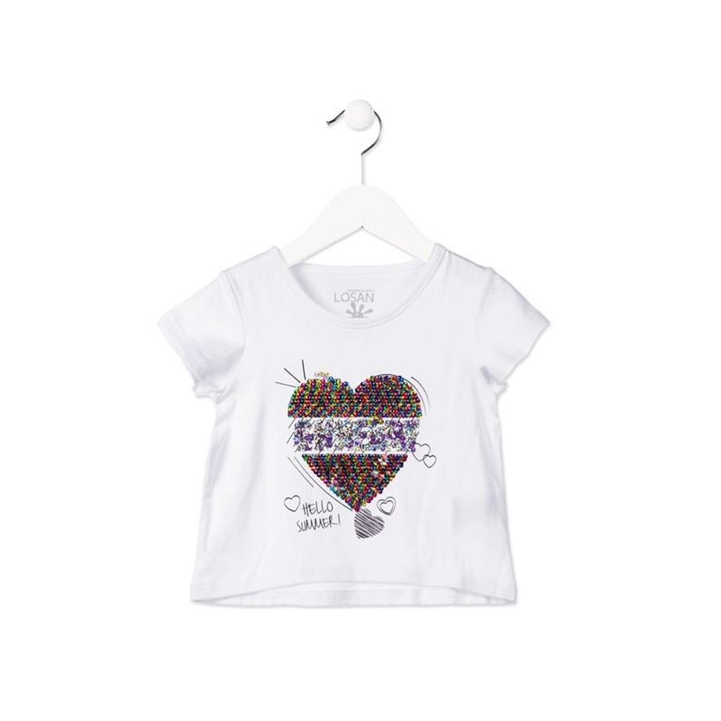96a62ce0d Camiseta manga corta LOSAN niña con corazón reversible de lentejuelas  blanca. Loading zoom