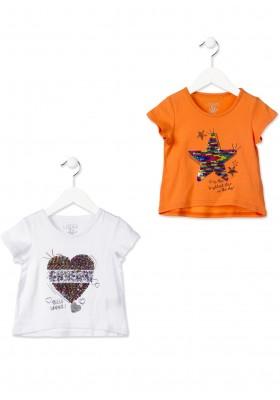 de7bf2e02 ... Camiseta manga corta LOSAN niña con corazón reversible de lentejuelas  blanca ...