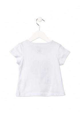 Camiseta manga corta LOSAN niña con corazón reversible de lentejuelas blanca
