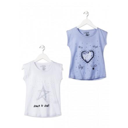 Camiseta de maga corta LOSAN niña con corazón y estrellas