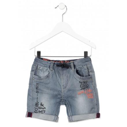 Pantalón corto LOSAN niño de punto efecto vaquero con estampados