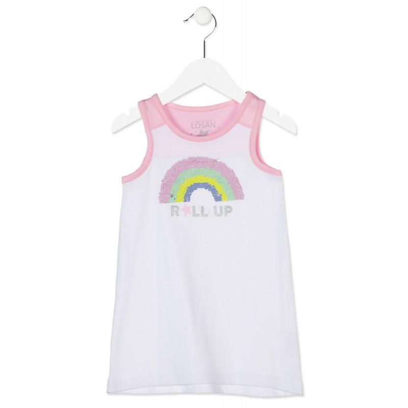 bfae3b473 Comprar vestido LOSAN niña de color blanco con lentejuelas modelo ...
