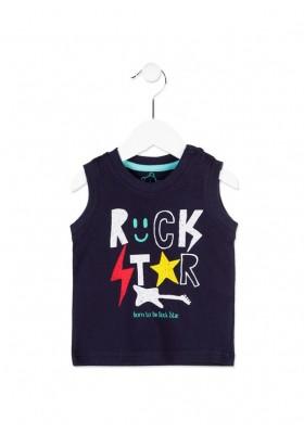 Camiseta sin mangas LOSAN bebe niño color azul con estampado rock