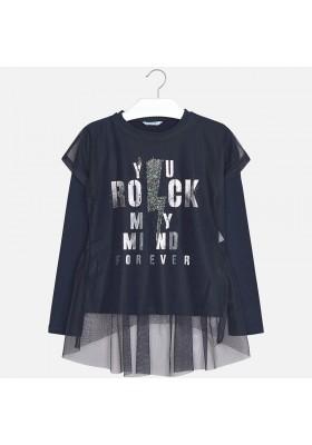 Camiseta manga larga combinada tul MAYORAL niña