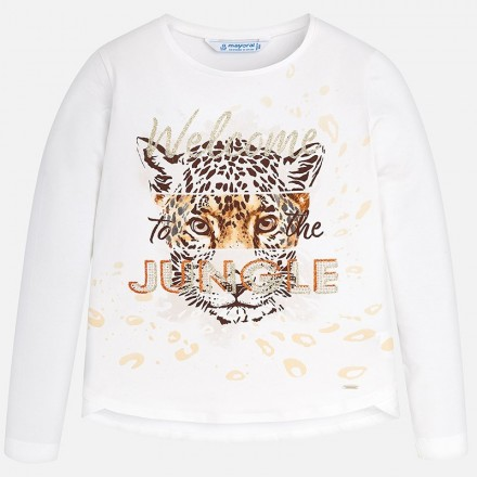 Camiseta manga larga leopardo MAYORAL niña