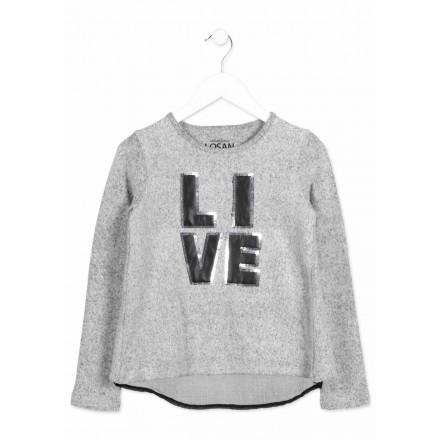 Camiseta manga larga LOSAN para niña de felpa con espalda cruzada
